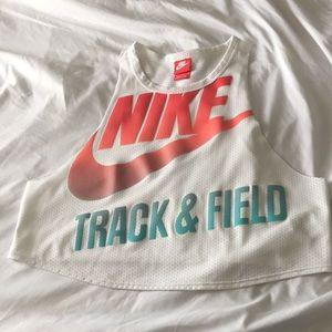 Nike muscle white crop top